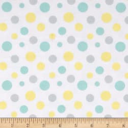 Flannel Fluffy Bunny Dots Blue/Yellow Fabric