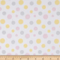 Flannel Fluffy Bunny Dots Pink/Yellow Fabric