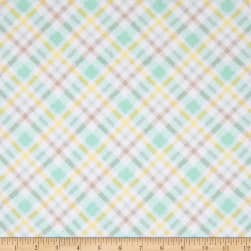Flannel Fluffy Bunny Plaid Blue Fabric