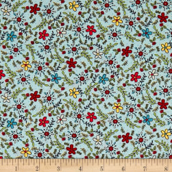 Covered In Truth Tossed Flowers Lt Blue Fabric