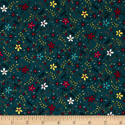 Covered In Truth Tossed Flowers Dk Blue Fabric