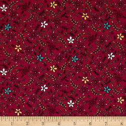 Covered In Truth Tossed Flowers Red Fabric