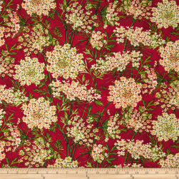 Botanical Blooms Queen Anne's Lace Scarlet Fabric
