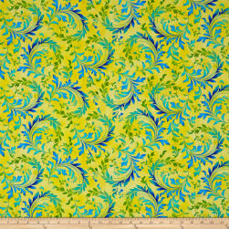 Botanical Blooms Flourish Swirl Yellow Fabric
