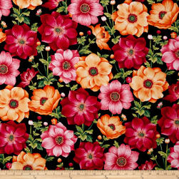 Botanical Blooms Anemones Black Fabric