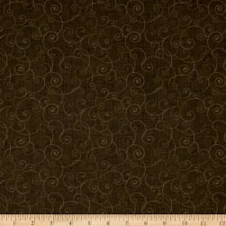 Whimsy Soothing Swirl Med Brown Fabric