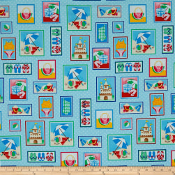 Just Beachy Beach Motifs In Boxes Turquoise Fabric