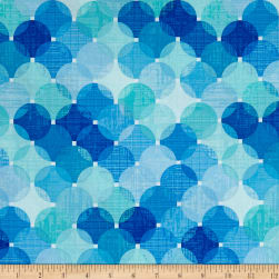 Just Beachy Large Layered Dots Blue Fabric