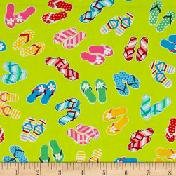 Just Beachy Flip Flops Green Fabric