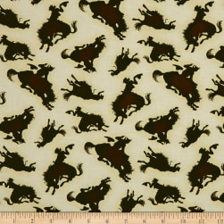 Rodeo Round Up Bucking Horse Silhouette Cream Fabric