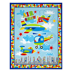 Air Show 36'' Panel Airplane Blue Fabric