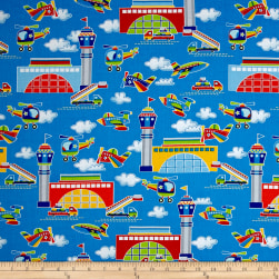 Air Show Airport Scenic Blue Fabric