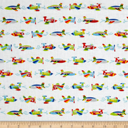 Air Show Mini Planes White/Multi Fabric