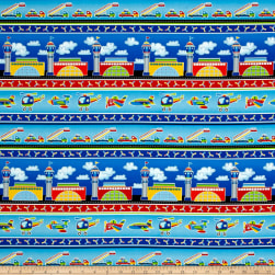Air Show Airport Stripe Blue Fabric