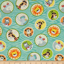 Bungle Jungle Animal Faces In Circles Blue Fabric