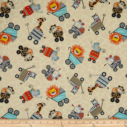 Bungle Jungle Animals In Carriages Cream Fabric