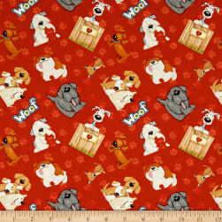 Dogs & Suds Tossed Dogs Red Fabric