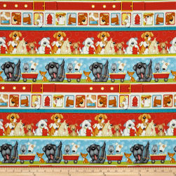 Dogs & Suds Novelty Dog Stripe Multi Fabric