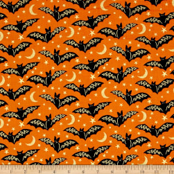 Midnight Spell Bats Metallic Orange Fabric