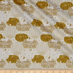 Metallic Midnight Spell Pumpkin Outline Cream Fabric