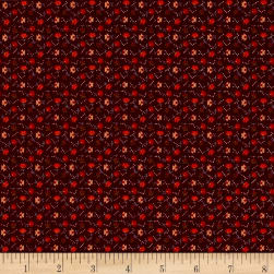 Pumpkin Farm Calico Flowers Red Fabric