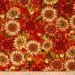 Autumn Album Sunflowers Pumpkin Fabric