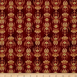 Kim Diehl Farmstead Flocked Wallpaper Ruby Fabric