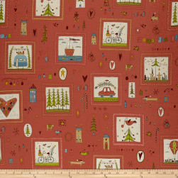 Home For Christmas Small Blocks Red Fabric