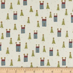Home For Christmas Mini Houses Cream Fabric