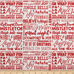Holiday Wishes Season Words White Fabric