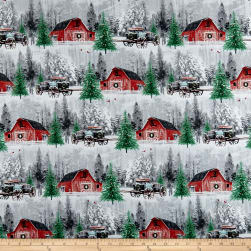 Holiday Wishes Red Barn Scenic Multi Fabric
