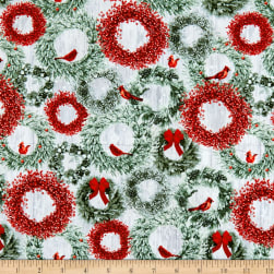 Holiday Wishes Wreaths Green Fabric