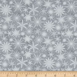 Holiday Wishes Snowflake Gray Fabric