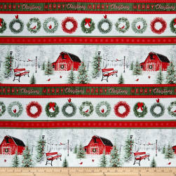 Holiday Wishes Christmas Novelty Stripe Multi Fabric