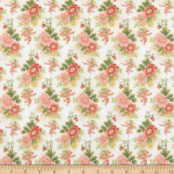 Gentle Garden Flannel Floral Cream Fabric