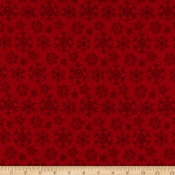 Flannel Frosty Friends Snowflake Red Fabric