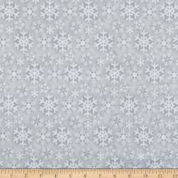Flannel Frosty Friends Snowflake Gray Fabric
