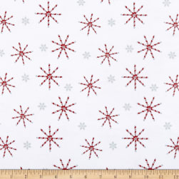 Flannel Frosty Friends Candy Cane Snowflakes White/Multi Fabric