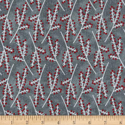 Flannel Frosty Friends Tree Branches Gray Fabric
