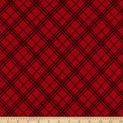 Flannel Frosty Friends Plaid Red Fabric