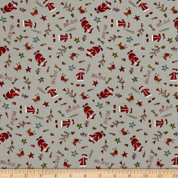 Believe Tossed Santa's Gray Fabric