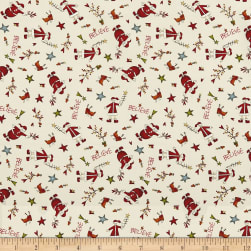 Believe Tossed Santa's Cream Fabric