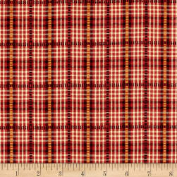 Believe Yarn Dye Dobbie Plaid Red Fabric