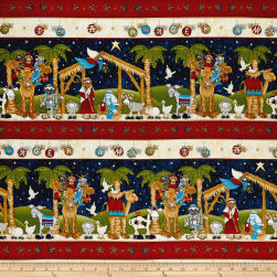 Away In A Manger Nativity Stripe Navy Fabric