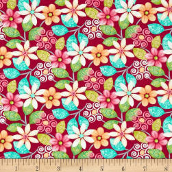Splish Splash Floral Red Fabric