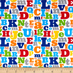Comfy Flannel Prints Large Alphabet Print White Fabric