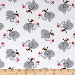 Comfy Flannel Prints Elephant Bird White Fabric