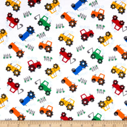 Comfy Flannel Prints Tractors White Fabric