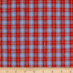Yarn Dyed Flannel Plaid Red & Blue Fabric