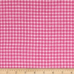 Yarn Dyed Flannel Check Pink Fabric